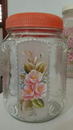 Discover thousands of images about Adeline JS Recycled Glass Bottles, Glass Bottle Crafts, Diy Bottle, Bottle Art, Painting Glass Jars, Bottle Painting, Hand Painting Art, Glass Art, Painting Canvas