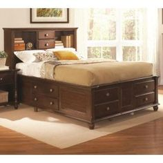 Hampton Captain's Storage Bed by Coaster Fine Furniture - Large Home Office Furniture, Office Furniture Stores, Bed Furniture, Online Furniture, Storage Bed Queen, Bed Frame With Storage, Bed Storage, Storage Drawers, Captains Bed
