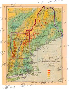 vintage 1916 physical and political map of New England States America USA collage sheet 245., via Etsy.