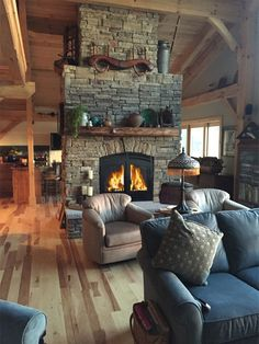 Create a warm & inviting space by choosing an Acucraft fireplace.🔥 With an Acucraft see through wood burning fireplace you get to enjoy the cozy warmth and dancing flames from two separate spaces. Your dream fireplace is waiting. Tiny House Cabin, Log Cabin Homes, Cozy House, Outdoor Wood Fireplace, Cabin Fireplace, Fireplace Ideas, Barn House Plans, House Floor Plans, See Through Fireplace