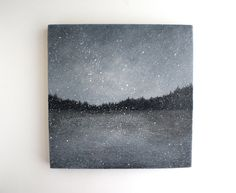 Snowfall  Black and White Oil Painting  8 x 8 by TreeHollowDesigns, $85.00. Wish it was larger.