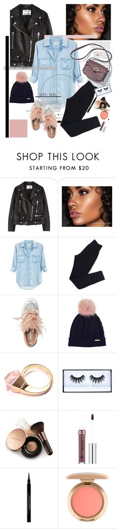 """""""Those shoes"""" by cutandpaste ❤ liked on Polyvore featuring Acne Studios, Anastasia Beverly Hills, Rails, Wolford, Miu Miu, Burberry, Gucci, Huda Beauty, Nude by Nature and Givenchy"""