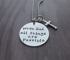 With God All Things Are Possible Necklace Matthew 19:26 necklace Sterling Silver Religious Catechism Gift First Communion Ready to Ship