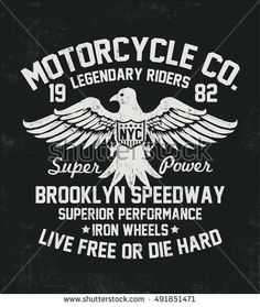 Motorcycle typography with eagle illustration , t-shirt graphics, vectors.