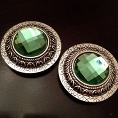"""PAIR Large Round GREEN crystal Silver Plugs Gauges plugs pair 5/8"""" - 16mm 11/16"""" - 18mm 3/4"""" - 19mm 7/8"""" - 22mm 1"""" - 25mm"""