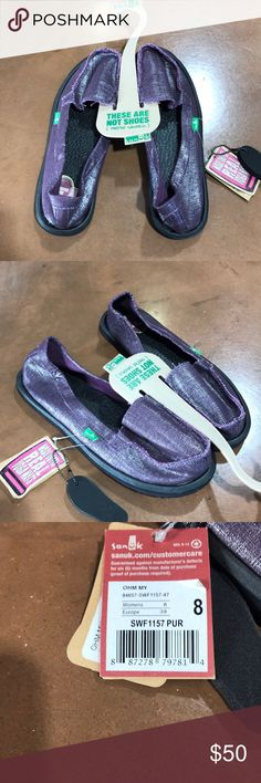 NWT Sanuk OHM MY size 8 purple NWT Sanuk OHM MY size 8 purple metallic.  Very cute!!  REASONABLE offers welcome.  Bundle 2 or more items for a private discount order. Sanuk Shoes Flats & Loafers