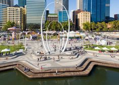 Elizabeth Quay by TCL in collaboration with ARM Architecture « Landscape Architecture Works Landscape Model, Park Landscape, Contemporary Landscape, Urban Landscape, Landscape Sketch, Arm Architecture, Floating Architecture, Landscape Architecture Design, Pavement Design