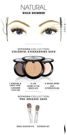 Sephora Natural Gold Shimmer (Cashmere Coat - Medium Taupe Matte; Sunset at the Beach - Golden Beige Shimmer; Lazy Afternoon - White Beige Matte)