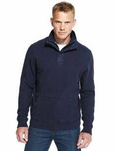 Blue Harbour Cotton Rich Half Zip Fleece Top-Marks & Spencer