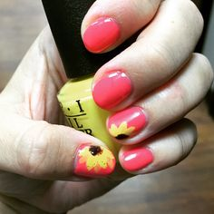 Coral and sunflower shellac nails I've done
