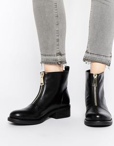 Pieces Valora Zip Front Ankle Boots