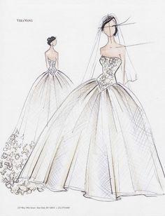 Vestido de novia en boceto con corte princesa y detalles en corpiño - Foto Vera Wang Facebook