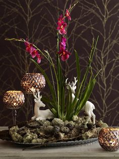 Nature inspired decorating ideas fall centerpiece moos deers candle holders #KBHome #Orlando