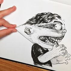 Artist Playfully 'Tortures' Cartoon Character With His Fingers - DesignTAXI.com