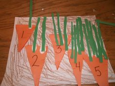 Preschool Carrot Patch Math Activity (pinned by Super Simple Songs) - Education Math Activities For Kids, Easter Activities, Spring Activities, Nutrition Activities, Counting Activities, Nutrition Education, Preschool Garden, Preschool Science, Preschool Lessons