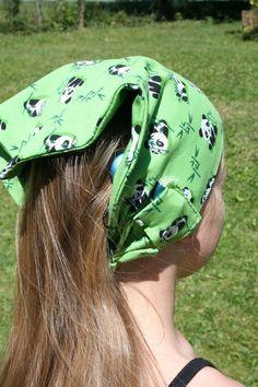 Bandeau enfant pour implant cochléaire - Taille enfant -Tissu jersey vert à…