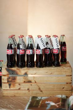 xoxo coke bottle wedding favors #coke #funfavors #weddingdrink http://www.weddingchicks.com/2013/11/15/romantic-and-timeless-wedding/