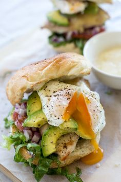 Chicken Burgers with Poached Eggs and Avocado