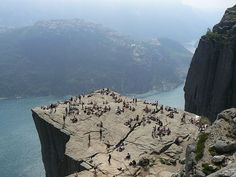 #Pulpit Rock, #Norway  Prekestolen, or Pulpit Rock, is a huge cliff 600 meters high on Lysefjorden, in the south-western fjords. The top of the cliff is a large flat square and from there the view is one of the most impressive natural sceneries in the world.