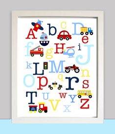 Looking to decorate your nursery or childs rooms wall? What a cute way to do so with this PRINTABLE wall art with set with car, truck, and ABC transportation      Includes Cars, Trucks, Motorcycles, Bus, Train, Helicopter, Firetruck etc!   Now on INSTANT DOWNLOAD you will get this instantly via email!    How does it work? After you order you will get the file emailed to you via Etsy to your paypal email address within minutes! Just download and print!    How to print? Easy! Just take the…