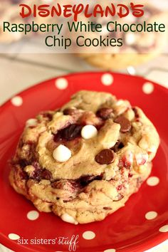 Disneyland's Raspberry White Chocolate Chip Cookies | Six Sisters' Stuff