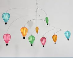 Hot Air Balloon Mobile - Hand Painted Hanging Mobile Sculpture