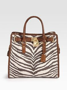 MICHAEL MICHAEL KORS Hamilton Whipped Leather & Canvas Tote Bag...yeah, gotta have this too!
