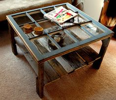 DIY: Rustic Coffee Table - made from a salvaged window & pallet wood. Inspiration. FYI: I am always a worry wart about glass top tables and kids...Think replacing the glass with plexiglass or with just a sheet of paneling would do just as well.