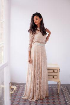 Golden Lace Wedding Dress | Frida Bohemian Champagne