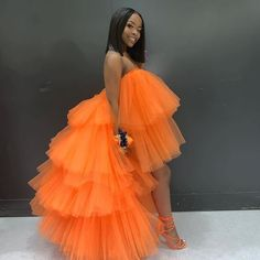 Extra Puffy Tulle Hi Low Prom Gown Party Dresses Tiered Ball Gown Cocktail Formal Dress Chic Orange Skirt Tutu Occasion Wear Hi Low Dresses, Formal Dresses For Women, Sexy Dresses, Fashion Dresses, Girls Dresses, Prom Dresses, Tulle Tutu, Tulle Dress, Pink Dress