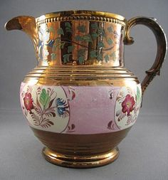 Large Antique Pink and Copper Luster Pitcher Hand-Painted Flowers