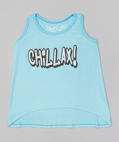 This Turquoise 'Chillax' Tank by So Nikki is perfect! #zulilyfinds