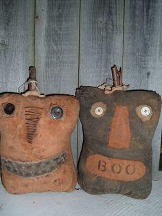 Primitive Folk Art Halloween Pumpkins Jack-a-Boo's