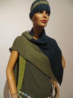 90 % silk, varied Bunt, Silk, Pattern, Handmade, Design, Fashion, Ponchos, Scarf Crochet, Handarbeit
