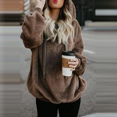 Flannel Long Oversized Hoodie Sweatshirt Plus Size Women Clothing Warm Fleece Hoodies Pullover Winter Coat Poleron Mujer Color black Size S Winter Outfits Women, Fall Outfits, Stylish Outfits, Christmas Outfits, Girly Outfits, Looks Chic, Long Sleeve Sweater, Coats For Women, Hooded Sweatshirts