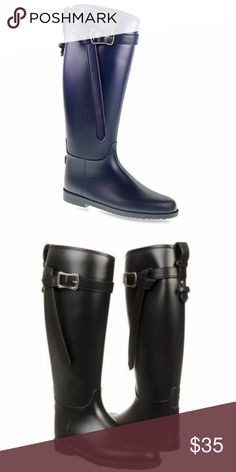 """New BLACK RAINBOOTS rain RIDING boots rubber 8.5 New black RAINBOOTS! With strap detail around top and adjustable buckle. Pull on style. Classic shape. By Dirby Laundry. Low 3/4"""" heel, 15"""" circumference. Similar the the Burberry Roscot RAINBOOT. (F28) Shoes Winter & Rain Boots"""