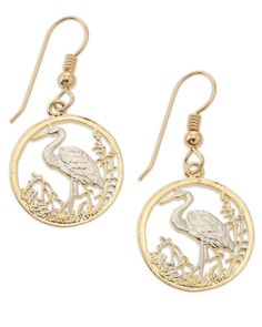 Egret Earrings By the Difference, 14 Karat Gold and Rhodium Plated. Beautiful Bird Earrings Featuring an Egret walking in the Water. The Coin was from a set of Wildlife Coins minted in Russia in 1993. They are a great size for earrings and nice and light to wear. After cutting they are plated in our 14 Karat Gold and Rhodium Finish. We Mount them on 14 Karat Gold Filled Ear Wires, All our work is Guaranteed for life.