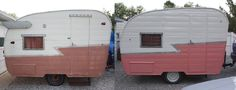 Before & After of the 64 Shasta Compact paint job. Love the color!