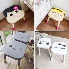 Trendy Painted Bedroom Furniture For Girls Ikea Hacks Ikea Hacks, Ikea Furniture Hacks, Furniture Dolly, Painting Kids Furniture, Painted Bedroom Furniture, Ikea Stool, Diy Stool, Ikea Kids, Bric À Brac
