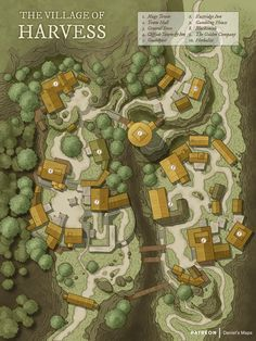 Harvess is a small village in the Archduchy of Sovar located in the Gynardan Mountains. The village itself is of little importance, a minor… Fantasy City Map, Fantasy Village, Fantasy Town, Fantasy World, Fantasy Map Making, Fantasy Rpg, Forest Village, Village Map, Pokemon