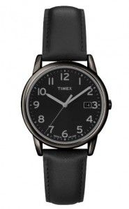 Timex Men's T2N947 Elevated Classics Dress All Black Leather Strap Watch   Citizen Watches For You And Her