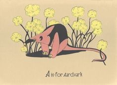 Nursery Art Alphabet Print  A is for Aardvark  by strawberryluna