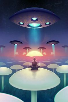 Image shared by freebird✌. Find images and videos about art, galaxy and aliens on We Heart It - the app to get lost in what you love. Arte Sci Fi, Sci Fi Art, Aliens And Ufos, Ancient Aliens, Alien Aesthetic, Alien Worlds, Alien Art, Science Fiction Art, Visionary Art