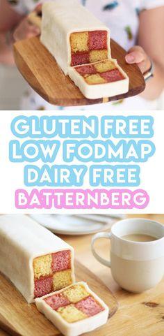 Low FODMAP & Gluten free recipe - Dairy free - My gluten free battenberg cake recipe is super easy to make at home. It's dairy free and low FODMAP too. Gluten Free Cakes, Gluten Free Baking, Gluten Free Desserts, Dairy Free Recipes, Vegan Baking, Healthy Baking, Fodmap Dessert Recipe, Fodmap Recipes, Lactose Free Diet