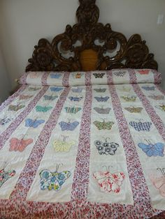 GREAT VINTAGE HAND APPLIQUED BUTTERFLY QUILT TOP #E477 | eBay