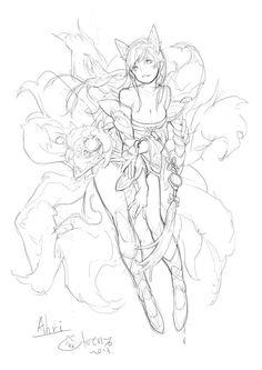 League of Legends Ahri Drawing Drawing Reference Poses, Drawing Poses, Drawing Sketches, Drawings, Character Concept, Character Art, Concept Art, Paint Photoshop, Photo Manga