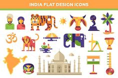 India Flat Design Icons Set. Travel Infographics. $7.00