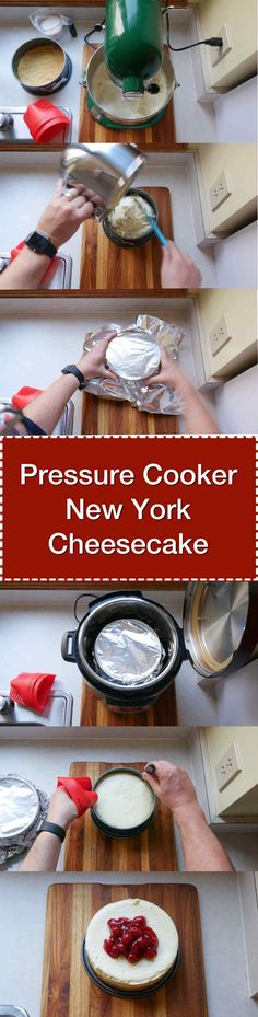 Pressure Cooker New York Cheesecake recipe. Perfectly cooked cheesecake in about an hour from the PC. Power Pressure Cooker, Instant Pot Pressure Cooker, Pressure Pot, Instant Cooker, Salted Caramel Cheesecake, Cheesecake Recipes, Instapot Cheesecake, Keto Recipes, Sweet Recipes