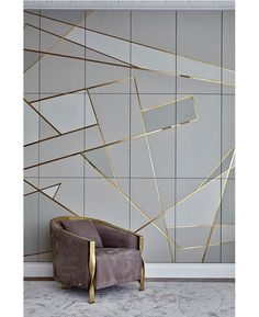 - Armchair - ▷ 1001 + breathtaking accent wall ideas for living room grey and gold geometrical tiles, grey velvet armchair, dining room pictures for walls.