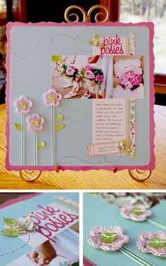 oh my two loves scrapbooking and crocheting together!!! Don't you just love the layout and the flowers?